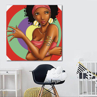 "BigProStore Framed Black Art Pretty Black American Girl African American Wall Art And Decor Afrocentric Decor BPS79339 24"" x 24"" x 0.75"" Square Canvas"
