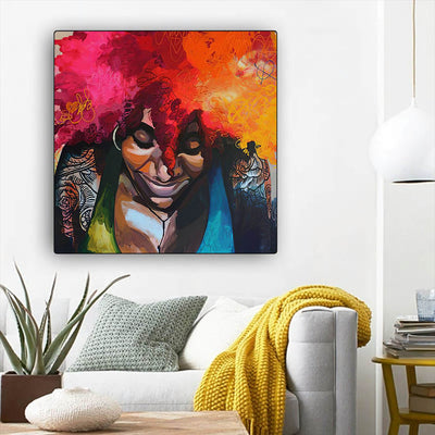 "BigProStore Framed Black Art Pretty Melanin Poppin Girl African American Prints Afrocentric Decor BPS19835 12"" x 12"" x 0.75"" Square Canvas"