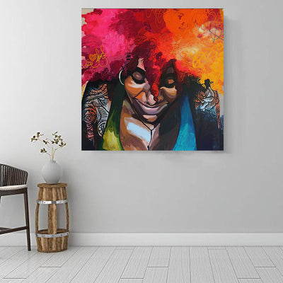 "BigProStore Framed Black Art Pretty Melanin Poppin Girl African American Prints Afrocentric Decor BPS19835 16"" x 16"" x 0.75"" Square Canvas"