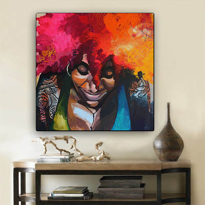 "BigProStore Framed Black Art Pretty Melanin Poppin Girl African American Prints Afrocentric Decor BPS19835 24"" x 24"" x 0.75"" Square Canvas"