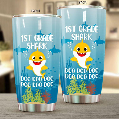 BigProStore Funny 1st Grade Shark Doo Doo Doo Tumbler Cute Shark Baby Womens Custom Father's Day Mother's Day Gift Idea BPS425 White / 20oz Steel Tumbler