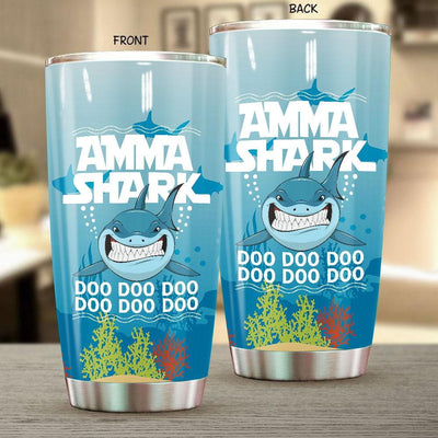 BigProStore Funny Amma Shark Doo Doo Doo Tumbler Womens Custom Father's Day Mother's Day Gift Idea BPS875 White / 20oz Steel Tumbler