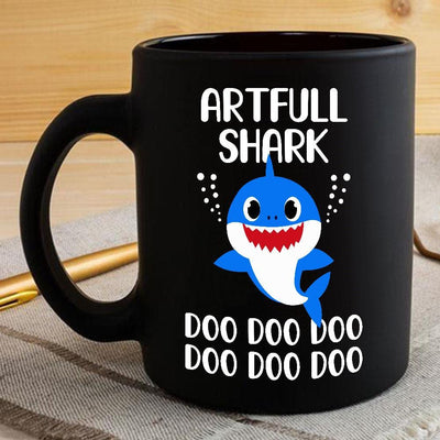 BigProStore Funny Artfull Shark Doo Doo Doo Coffee Mug Cute Shark Baby Womens Custom Father's Day Mother's Day Gift Idea BPS532 Black / 11oz Coffee Mug