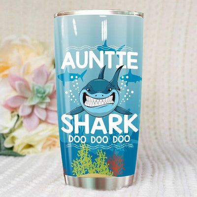 BigProStore Funny Aunt Shark Doo Doo Doo Tumbler Womens Custom Father's Day Mother's Day Gift Idea BPS931 White / 20oz Steel Tumbler