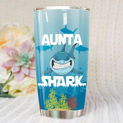 BigProStore Funny Aunta Shark Tumbler Womens Custom Father's Day Mother's Day Gift Idea BPS865 White / 20oz Steel Tumbler