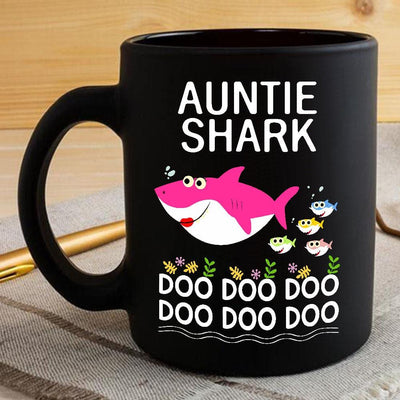 BigProStore Funny Auntie Shark Doo Doo Doo Coffee Mug Womens Custom Father's Day Mother's Day Gift Idea BPS575 Black / 11oz Coffee Mug