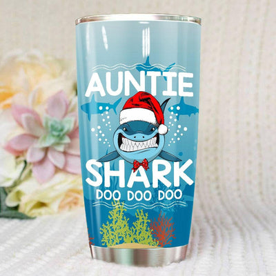 BigProStore Funny Auntie Shark Doo Doo Doo Tumbler Shark Wearing Santa Hat Womens Custom Father's Day Mother's Day Christmas Gift Idea BPS161 White / 20oz Steel Tumbler