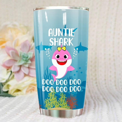 BigProStore Funny Aunties Shark Doo Doo Doo Tumbler Cute Shark Baby Womens Custom Father's Day Mother's Day Gift Idea BPS589 White / 20oz Steel Tumbler