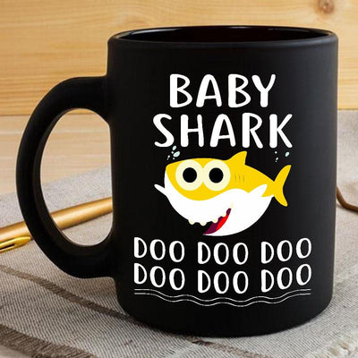 BigProStore Funny Baby Shark Doo Doo Doo Coffee Mug Cute Shark Baby Womens Custom Father's Day Mother's Day Gift Idea BPS553 Black / 11oz Coffee Mug