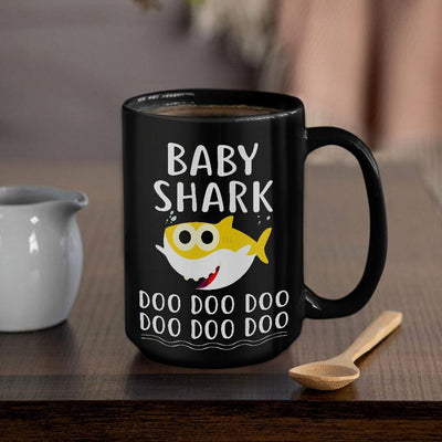 BigProStore Funny Baby Shark Doo Doo Doo Coffee Mug Cute Shark Baby Womens Custom Father's Day Mother's Day Gift Idea BPS553 Black / 15oz Coffee Mug