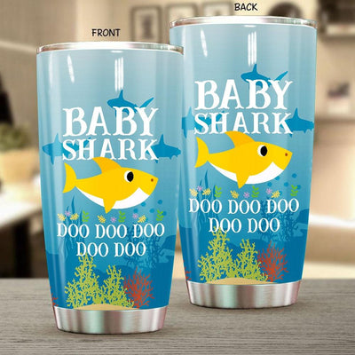 BigProStore Funny Baby Shark Doo Doo Doo Tumbler Cute Shark Baby Womens Custom Father's Day Mother's Day Gift Idea BPS138 White / 20oz Steel Tumbler
