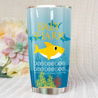 BigProStore Funny Baby Shark Doo Doo Doo Tumbler Cute Shark Baby Womens Custom Father's Day Mother's Day Gift Idea BPS326 White / 20oz Steel Tumbler