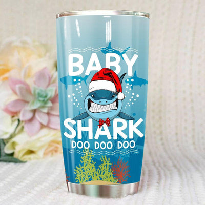 BigProStore Funny Baby Shark Doo Doo Doo Tumbler Shark Wearing Santa Hat Womens Custom Father's Day Mother's Day Christmas Gift Idea BPS114 White / 20oz Steel Tumbler