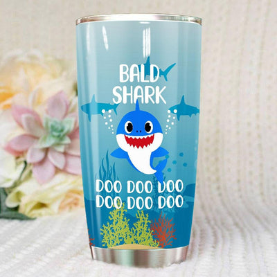 BigProStore Funny Bald Shark Doo Doo Doo Tumbler Cute Shark Baby Womens Custom Father's Day Mother's Day Gift Idea BPS661 White / 20oz Steel Tumbler