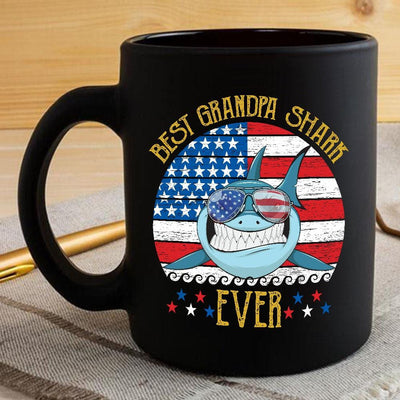 BigProStore Funny Best Grandpa Shark Ever Coffee Mug Blue Shark Wearing Sunglasses Version Black / 11oz Coffee Mug