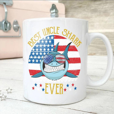 BigProStore Funny Best Uncle Shark Ever Coffee Mug Blue Shark Wearing Sunglasses Version White / 11oz Coffee Mug