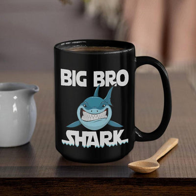 BigProStore Funny Big Bro Shark Coffee Mug Mens Custom Father's Day Mother's Day Gift Idea BPS572 Black / 15oz Coffee Mug