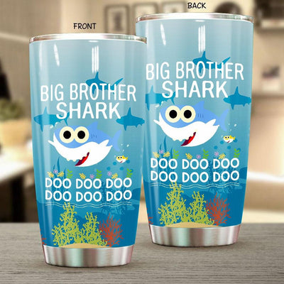 BigProStore Funny Big Brother Shark Doo Doo Doo Tumbler Cute Shark Baby Womens Custom Father's Day Mother's Day Gift Idea BPS666 White / 20oz Steel Tumbler