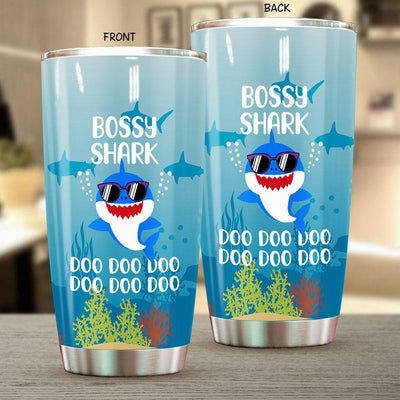 BigProStore Funny Bossy Shark Doo Doo Doo Tumbler Cute Shark Baby Wearing Sunglasses Womens Custom Father's Day Mother's Day Gift Idea BPS468 White / 20oz Steel Tumbler