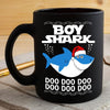 BigProStore Funny Boy Shark Doo Doo Doo Coffee Mug Shark Wearing Santa Hat Mens Custom Father's Day Mother's Day Christmas Gift Idea BPS539 Black / 11oz Coffee Mug