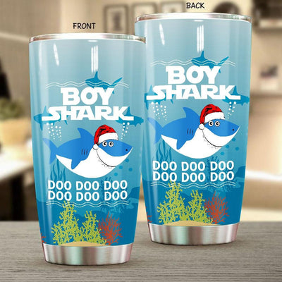 BigProStore Funny Boy Shark Doo Doo Doo Tumbler Shark Wearing Santa Hat Mens Custom Father's Day Mother's Day Christmas Gift Idea BPS539 White / 20oz Steel Tumbler