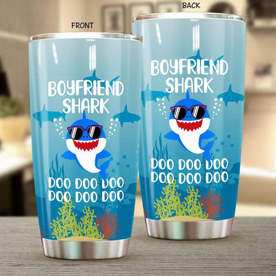 BigProStore Funny Boyfriend Shark Doo Doo Doo Tumbler Cute Shark Baby Wearing Sunglasses Womens Custom Father's Day Mother's Day Gift Idea BPS839 White / 20oz Steel Tumbler