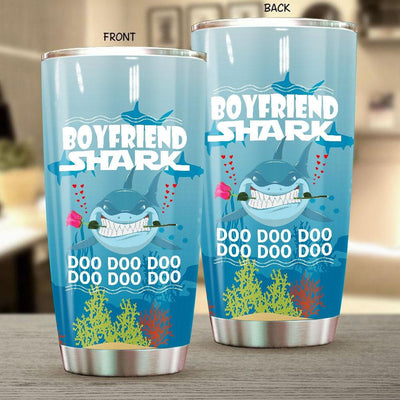 BigProStore Funny Boyfriend Shark Doo Doo Doo Tumbler Shark And Rose Womens Custom Father's Day Mother's Day Gift Idea BPS303 White / 20oz Steel Tumbler