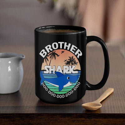 BigProStore Funny Brother Shark Doo Doo Doo Coffee Mug Summer Beach Mens Custom Father's Day Mother's Day Gift Idea BPS281 Black / 15oz Coffee Mug