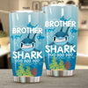 BigProStore Funny Brother Shark Doo Doo Doo Tumbler Mens Custom Father's Day Mother's Day Gift Idea BPS636 White / 20oz Steel Tumbler