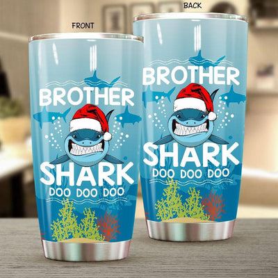 BigProStore Funny Brother Shark Doo Doo Doo Tumbler Shark Wearing Santa Hat Mens Custom Father's Day Mother's Day Christmas Gift Idea BPS774 White / 20oz Steel Tumbler