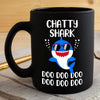 BigProStore Funny Chatty Shark Doo Doo Doo Coffee Mug Cute Shark Baby Wearing Sunglasses Womens Custom Father's Day Mother's Day Gift Idea BPS786 Black / 11oz Coffee Mug