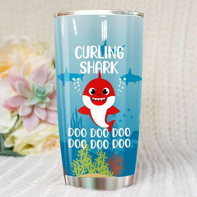 BigProStore Funny Curling Shark Doo Doo Doo Tumbler Cute Shark Baby Womens Custom Father's Day Mother's Day Gift Idea BPS709 White / 20oz Steel Tumbler