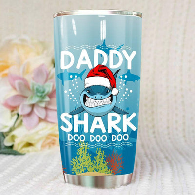 BigProStore Funny Daddy Shark Doo Doo Doo Tumbler Shark Wearing Santa Hat Mens Custom Father's Day Mother's Day Christmas Gift Idea BPS313 White / 20oz Steel Tumbler