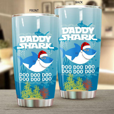BigProStore Funny Daddy Shark Doo Doo Doo Tumbler Shark Wearing Santa Hat Mens Custom Father's Day Mother's Day Christmas Gift Idea BPS764 White / 20oz Steel Tumbler
