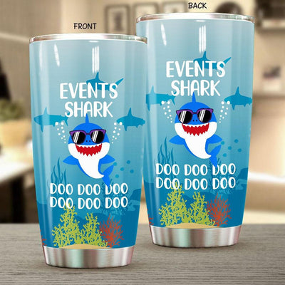 BigProStore Funny Events Shark Doo Doo Doo Tumbler Cute Shark Baby Wearing Sunglasses Womens Custom Father's Day Mother's Day Gift Idea BPS901 White / 20oz Steel Tumbler