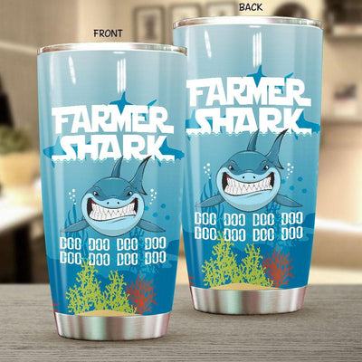 BigProStore Funny Farmer Shark Doo Doo Doo Tumbler Womens Custom Father's Day Mother's Day Gift Idea BPS861 White / 20oz Steel Tumbler