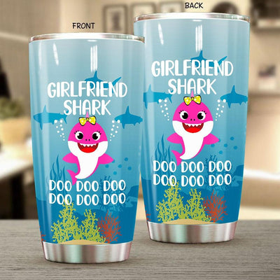BigProStore Funny Girlfriend Shark Doo Doo Doo Tumbler Cute Shark Baby Womens Custom Father's Day Mother's Day Gift Idea BPS534 White / 20oz Steel Tumbler