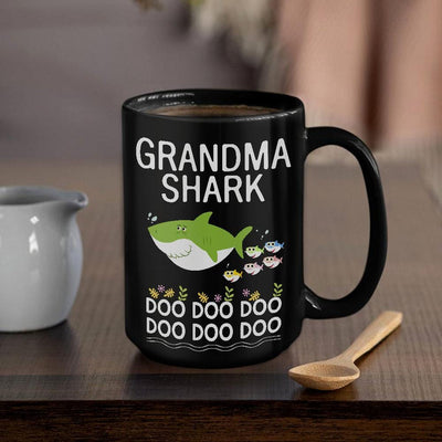 BigProStore Funny Grandma Shark Doo Doo Doo Coffee Mug Womens Custom Father's Day Mother's Day Gift Idea BPS289 Black / 15oz Coffee Mug