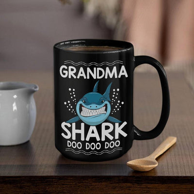 BigProStore Funny Grandma Shark Doo Doo Doo Coffee Mug Womens Custom Father's Day Mother's Day Gift Idea BPS436 Black / 15oz Coffee Mug