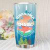 BigProStore Funny Grandma Shark Doo Doo Doo Tumbler Summer Beach Womens Custom Father's Day Mother's Day Gift Idea BPS586 White / 20oz Steel Tumbler