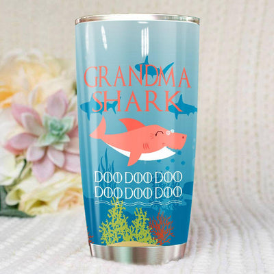 BigProStore Funny Grandma Shark Doo Doo Doo Tumbler Womens Custom Father's Day Mother's Day Gift Idea BPS690 White / 20oz Steel Tumbler