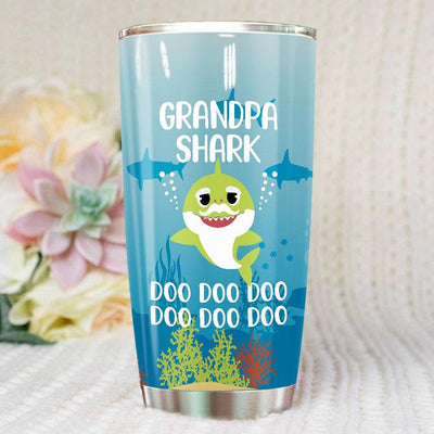 BigProStore Funny Grandpa Shark Doo Doo Doo Tumbler Cute Shark Baby Mens Custom Father's Day Mother's Day Gift Idea BPS255 White / 20oz Steel Tumbler
