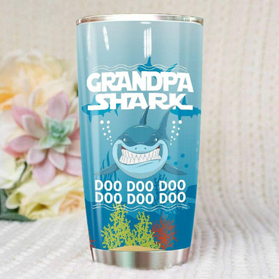 BigProStore Funny Grandpa Shark Doo Doo Doo Tumbler Mens Custom Father's Day Mother's Day Gift Idea BPS260 White / 20oz Steel Tumbler
