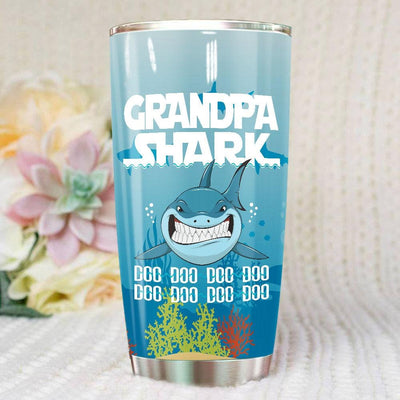 BigProStore Funny Grandpa Shark Doo Doo Doo Tumbler Mens Custom Father's Day Mother's Day Gift Idea BPS424 White / 20oz Steel Tumbler
