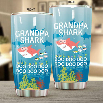 BigProStore Funny Grandpa Shark Doo Doo Doo Tumbler Mens Custom Father's Day Mother's Day Gift Idea BPS450 White / 20oz Steel Tumbler