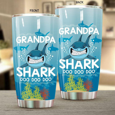 BigProStore Funny Grandpa Shark Doo Doo Doo Tumbler Mens Custom Father's Day Mother's Day Gift Idea BPS596 White / 20oz Steel Tumbler