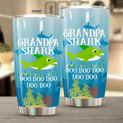 BigProStore Funny Grandpa Shark Doo Doo Doo Tumbler Mens Custom Father's Day Mother's Day Gift Idea BPS636 White / 20oz Steel Tumbler