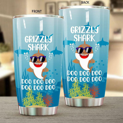 BigProStore Funny Grizzly Shark Doo Doo Doo Tumbler Cute Shark Baby Wearing Sunglasses Womens Custom Father's Day Mother's Day Gift Idea BPS773 White / 20oz Steel Tumbler