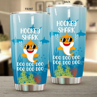 BigProStore Funny Hockey Shark Doo Doo Doo Tumbler Cute Shark Baby Wearing Sunglasses Womens Custom Father's Day Mother's Day Gift Idea BPS670 White / 20oz Steel Tumbler