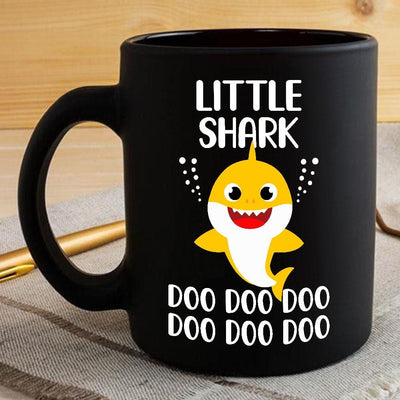 BigProStore Funny Little Shark Doo Doo Doo Coffee Mug Cute Shark Baby Womens Custom Father's Day Mother's Day Gift Idea BPS926 Black / 11oz Coffee Mug